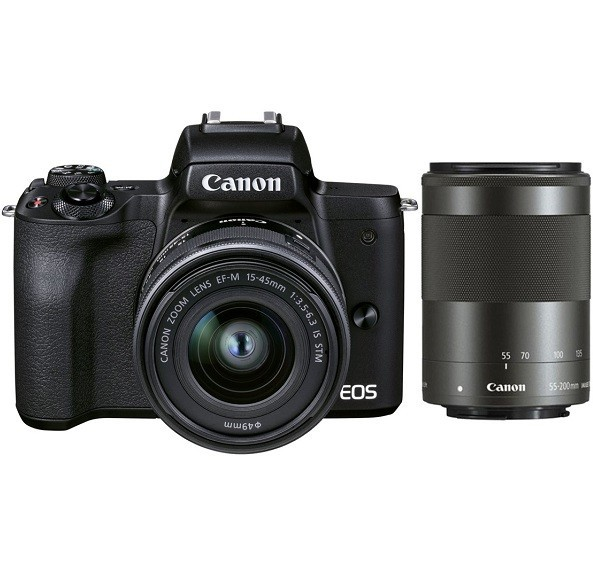 Canon EOS M50 Mark II Kit 15-45mm + 55-200mm Black - фото